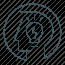 idea, innovation, light bulb, mind, smart, think, thought icon