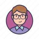 man, clever, people, avatar, student, male, glasses icon