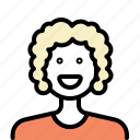 avatar, blonde, hairstyle, outline, women icon