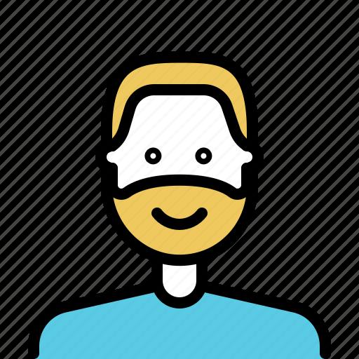 avatar, beard, male, man, outline icon
