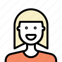 avatar, blonde, hairstyle, outline, woman icon