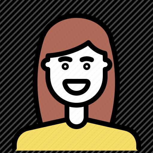 avatar, brunette, hairstyle, outline, women icon