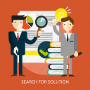 business, people, problem, search, solution, solve, strategy icon