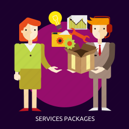 box, business, concept, industrial, package, people, services icon