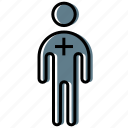 figure, man, plus, stick, stickman icon