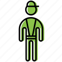 boy, cap, figure, man, stick, stickman icon