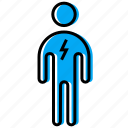 figure, lightning, man, stick, stickman icon