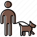 cynologist, dog, human, man, people, person, walk icon