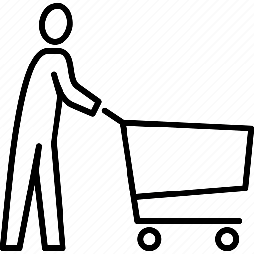 commerce, ecommerce, man pushing cart, man shopping, shopping, shopping cart, trolley icon