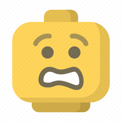 block, emoji, face, lego, scared, toy, worried icon