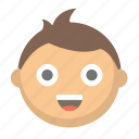 boy, child, emoji, face, happy, kid, young icon