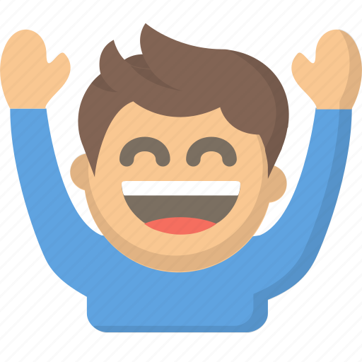 celebrate, cheer, ecstatic, emoji, fan, hands up, person icon