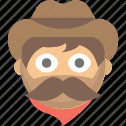 cowboy, emoji, face, hat, man, mustache, western icon