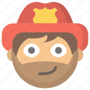 firefighter, firemen, man, protection, public, service, smirk icon