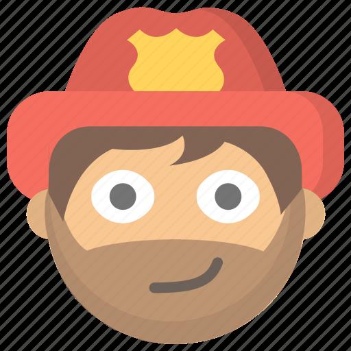 firefighter, firemen, man, protection, public, service, smirk icon
