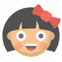 child, cute, emoji, face, girl, kid, little icon