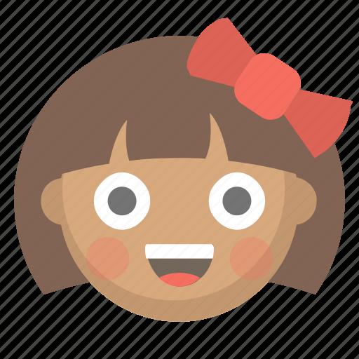 child, cute, emoji, face, girl, kid, little icon