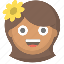 cute, woman, flower, pretty, hippy, chick, girl