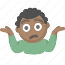 confused, emoji, guy, i dont know, idk, person, shrug icon