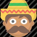 guy, man, mexican, mexico, mustache, sombrero