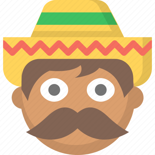 guy, man, mexican, mexico, mustache, sombrero icon