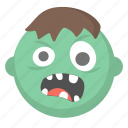 emoji, halloween, scary, spooky, ugly, undead, zombie icon