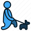people, pet, dog, walk, activity, animal