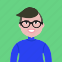 account, avatar, four-eyes, glasses, hipster, man, profile, student, stylish icon