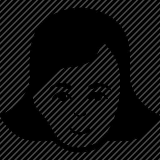 female, feminine, girl, head, lady face, person, woman gender icon