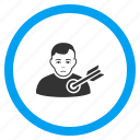 aim, bullseye, goal, person, target point, targeting arrow, victim icon