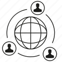connection, global, globe, network, people, social media, social network icon