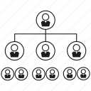 connection, diagram, network, organization chart, people icon