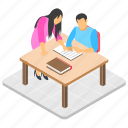 business meeting, businesspeople, conference, official discussion, workplace icon