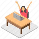 businesswoman relaxing, office desk, stretching arms, tired employee, workplace icon