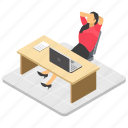break time, businesswoman relaxing, office desk, tired employee, workplace icon