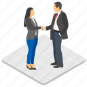 business greeting, female advisor, office meeting, sealing deal, shaking hands