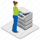 copying document, office activity, office worker, photocopier, photocopy machine icon