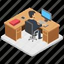 duty time, employee desk, office, workplace, workspace icon