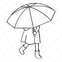 girl, kid, rain, rainy, street, umbrella, walking icon