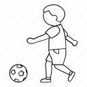 ball, boy, kick, person, play, soccer, sport icon