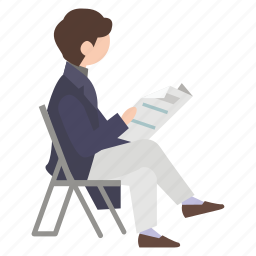 book, chair, park, person, reader, reading, relax icon