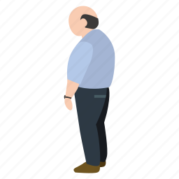 bald, dude, fat, old, person, street, waiting icon