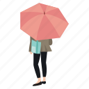 rain, rainy, standing, street, umbrella, waiting, woman icon