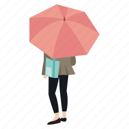 rain, rainy, standing, street, umbrella, waiting, woman icon