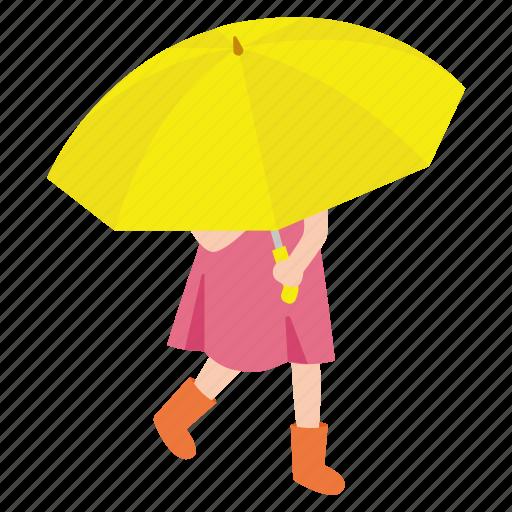 girl, kid, rain, rainy, street, umbrella, walking icon