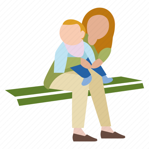 baby, bench, mom, mother, park, people, sitting icon