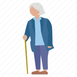 elder person, female, lady, old, old lady, old person, old woman icon