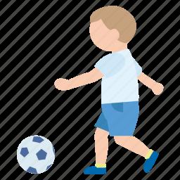 ball, boy, kick, person, play, soccer, sport icon