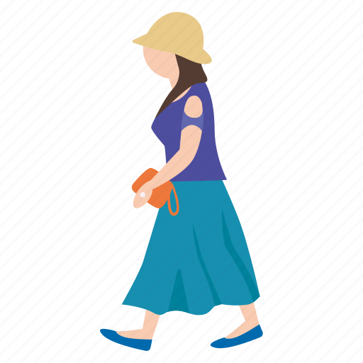 bag, female, hat, person, street, walking, woman icon