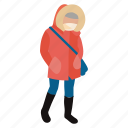 chill, cold, jacket, person, warm, winter, winter wear icon